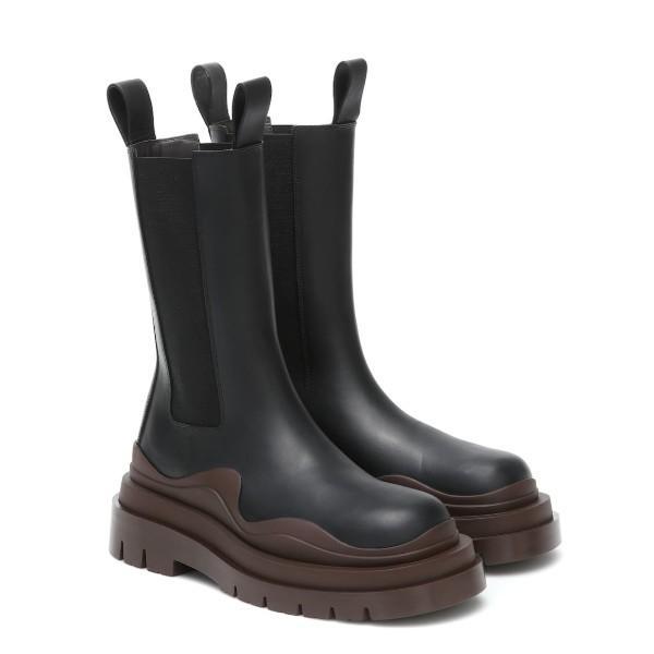 Bottes de designer 2020 Nouvelle mode de luxe à mi-veau à mi-veau à mi-veau Bottes de pneu femmes plate-forme chunky boot dame bottes de luxe de luxe femmes bottes 35-40