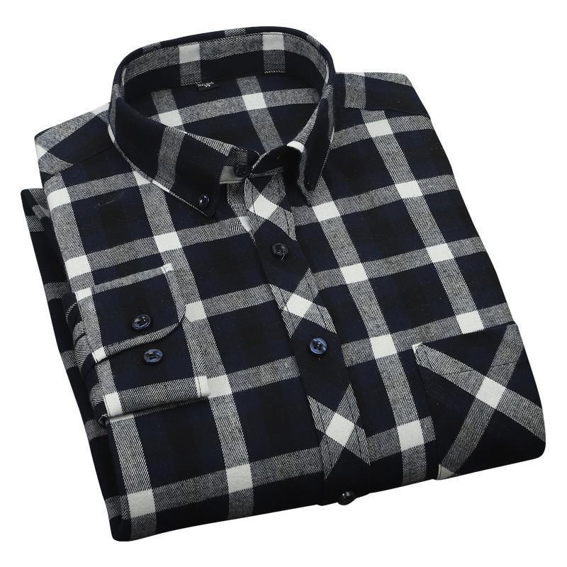 Aoliwen Бренд мужской 100% хлопок черно-белая клетчатая рубашка пружина и осенью тренд повседневная удобная мягкая длинная рукавная стройная рубашка