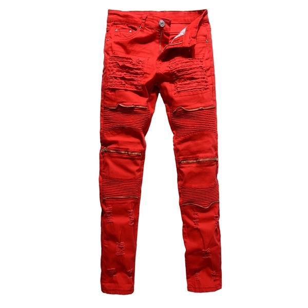 2020 Mens Masculino Clube do motociclista Jeans Branco / vermelho / preto joelho multi zipper Homens Marca Slim Fit Cut Destruído Jean Pants por Homem Homme 1006