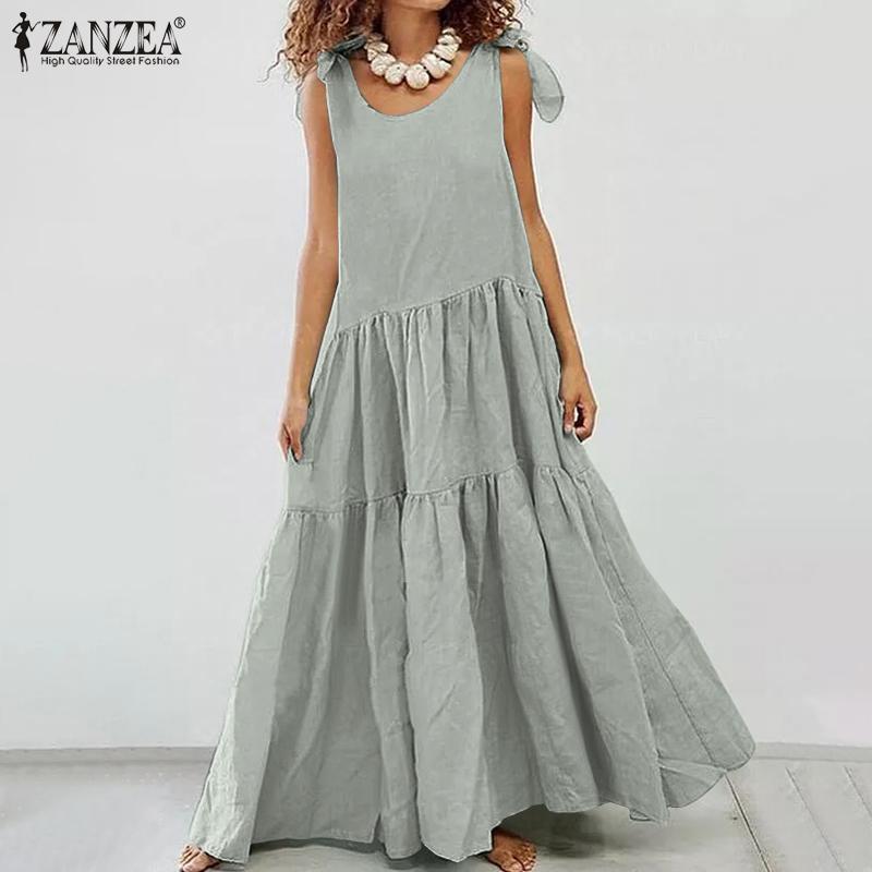 Günlük Elbiseler ZANZEA 2021 Moda Katı Yaz Maxi Elbise kadın Fırfır Sundress Lace Up Tank Vestidos Kadın Robe Femme Artı Boyutu
