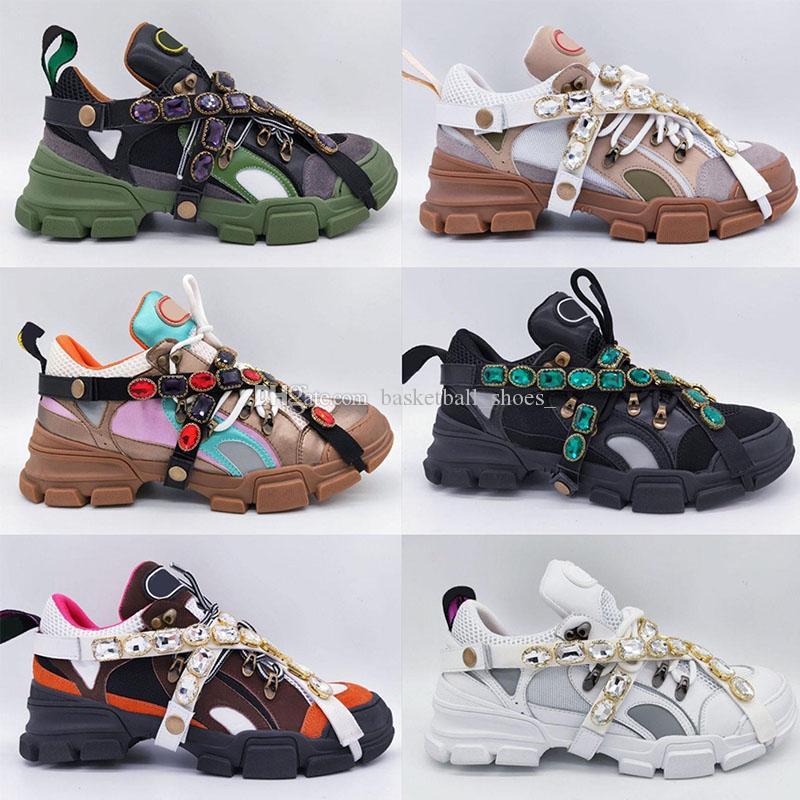 Luxurys Designers Sapatos Mulheres Plataforma Sneaker Removível Cristais Casuais Mens de Luxo Mulher Designer Treinadores tamanho 35-45