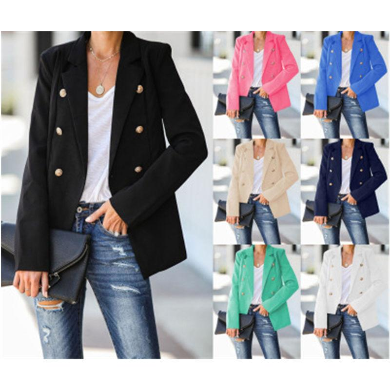 Women Solid Color Suits Jacket Fashion Trend Long Sleeve Cardigan Lapel Button Blazers Spring Female Occident V-neck Casual Slim Suits Coats