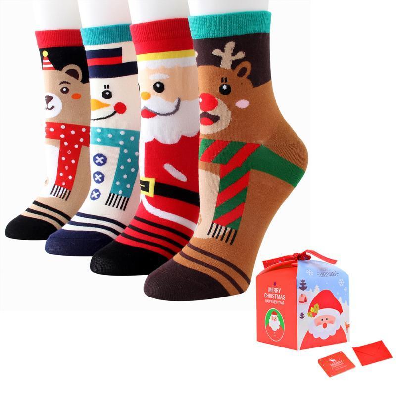 6 пар елки снег снег подарок хлопок счастливые мужчины носки новая осень зима рождественские носки женщина забавный Новый год Санта-Клаус