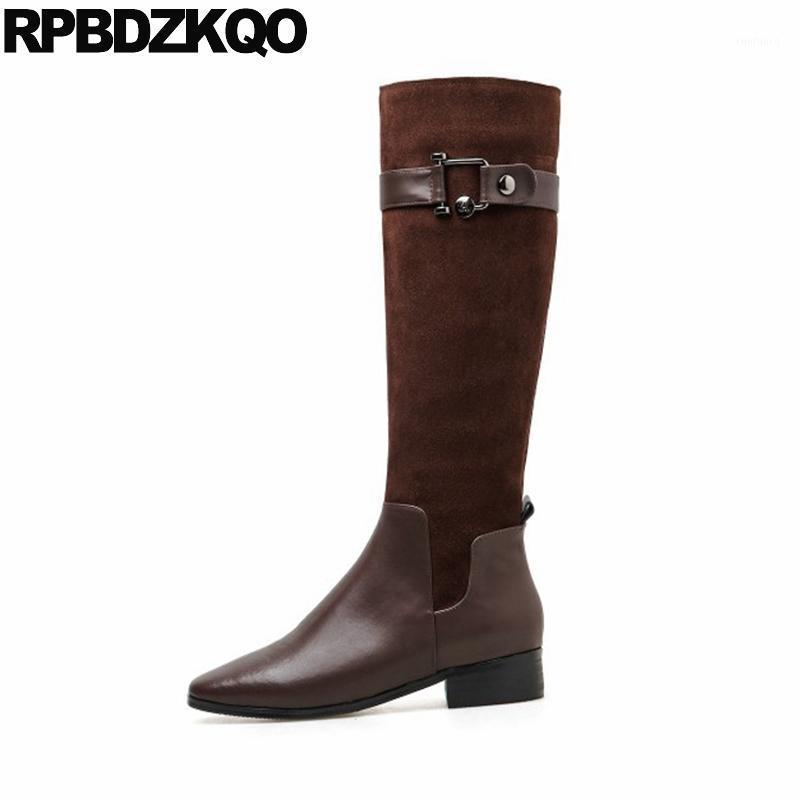 winter women chunky shoes genuine leather long square toe 2020 tall low heel side zip boots suede designer knee high block brown1