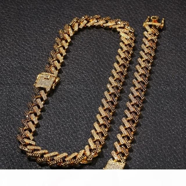 رجل 15 ملليمتر ميامي كوبي ربط سلسلة قلادة أساور مجموعة للنساء بلينغ مثلج خارج الماس الذهب والفضة سلاسل الثقيلة سميكة الهيب هوب المجوهرات