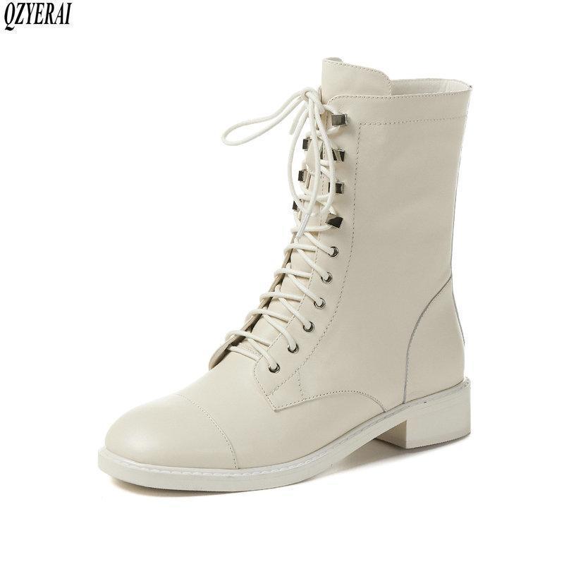QZYERAI neue Art echtes Leder Reitstiefel Weibliche Stiefel Frauen britischer Stil Cattle weibliche Schuhe Frauen