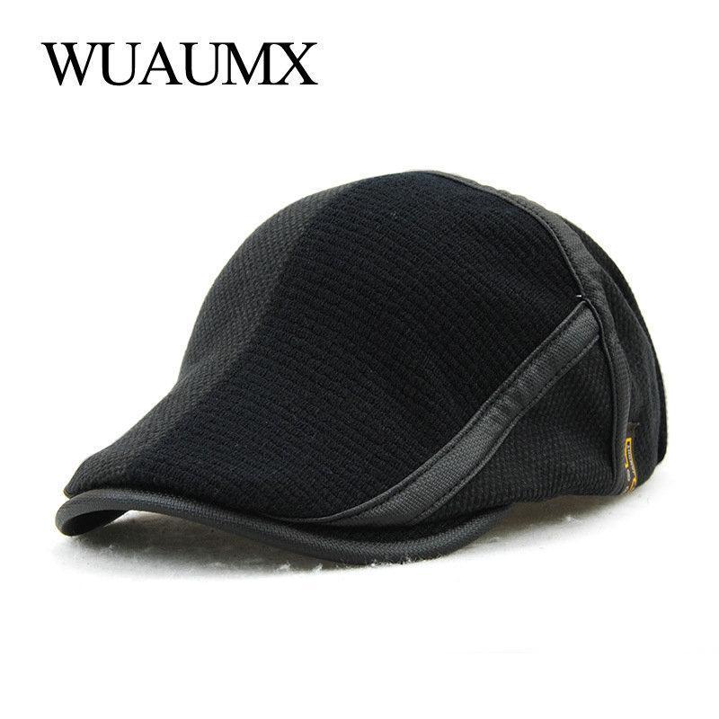 Wuaumx NOUVEAU automne hiver crochet Beret chapeaux pour les hommes et les femmes visières Loisirs Coton chaud Bonnet peintre chapeau Casquette