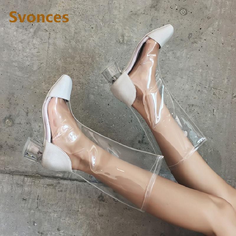 Catwalk 2020 Mode Femme Bottes sexy transparent talons PVC carré en soie Noir Blanc Bottes refroidissent Chaussures courtes femmes Botas 43