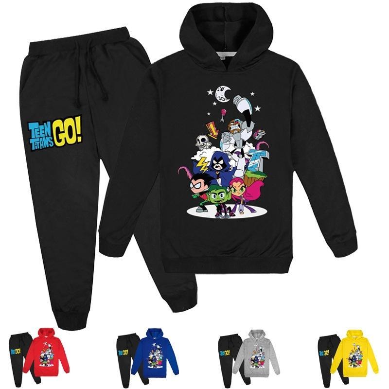 2-16Y Babykleidung Sets Teen Titans Gehen Hoodie Tops Hosen 2 stücke Set Kinder Sport Anzüge Jungen Trainingsanzüge Kleinkind Outfit Girls Outwear 201126