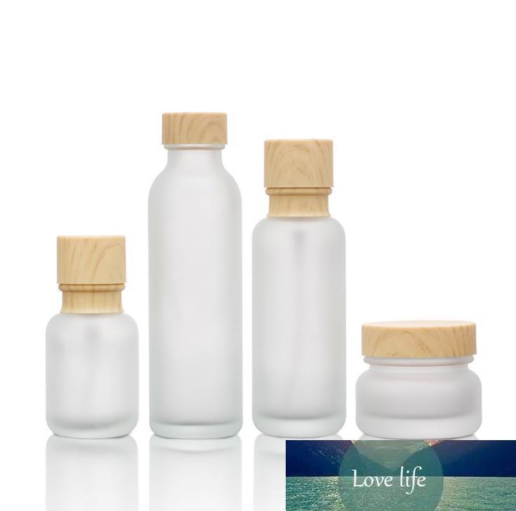 Матовое стекло Jar Лосьон Крем бутылки Круглый Косметические баночки для рук для лица Лосьон насоса Бутылка с дерева зерна крышкой SN816