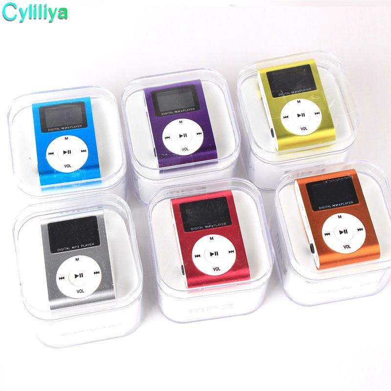 100pcs Metal LCD Screen Mp3 Music Player Portable Clip Mini Mp3 Player with Micro TF/SD Slot High Quality Headphones + USB Cable