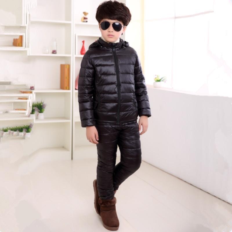 3-13t Inverno Children Conjunto Quente Moda Down Algodão Vestuário Sólido Terno Luz Fino Com Capuz Outwear Alta Qualidade Y200325