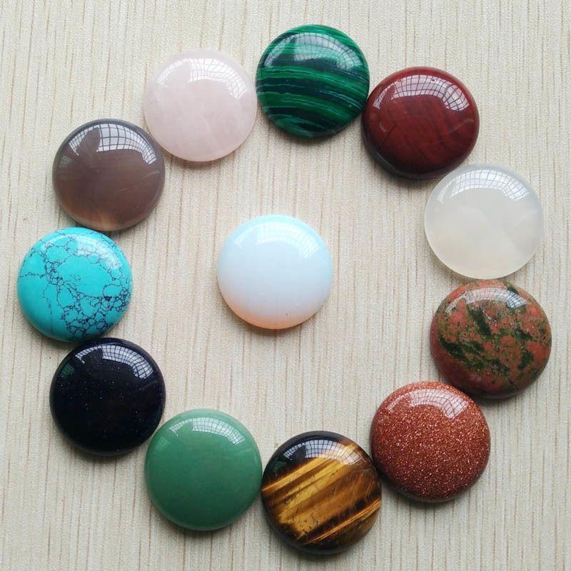 12pcs / lot gros nouvelle bonne qualité pierre naturelle perles de cabochons rondes mixtes 25 mm pour les bijoux bricolage faisant Q1106 livraison gratuite