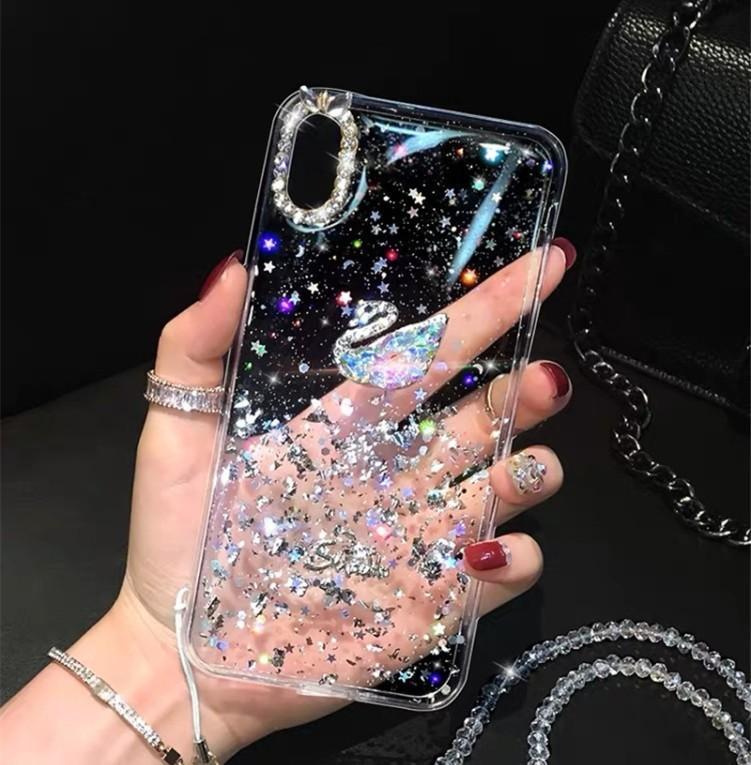 New IPhone12pro Caso Moda Glitter folha de prata strass Swan Adequado para 8plus caixa transparente Mobile Phone Iphone 12 Macio MAX