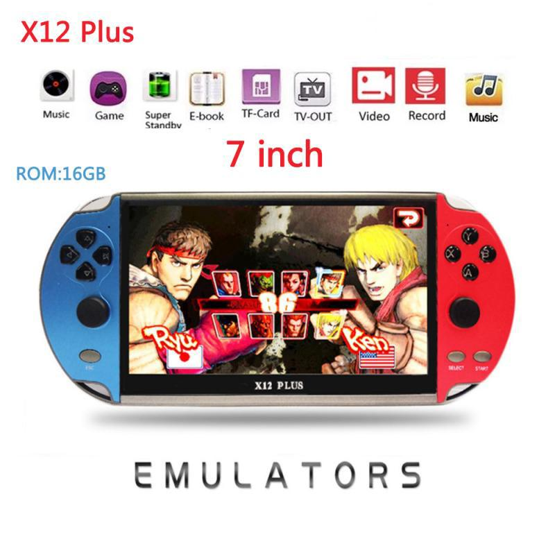 X12 Plus Video Oyunu 7 inç LCD Çift Rocker Taşınabilir El Retro Oyun Konsolu Video MP5 Çalar GBA / NES için TF Kart oyunu LJ201204