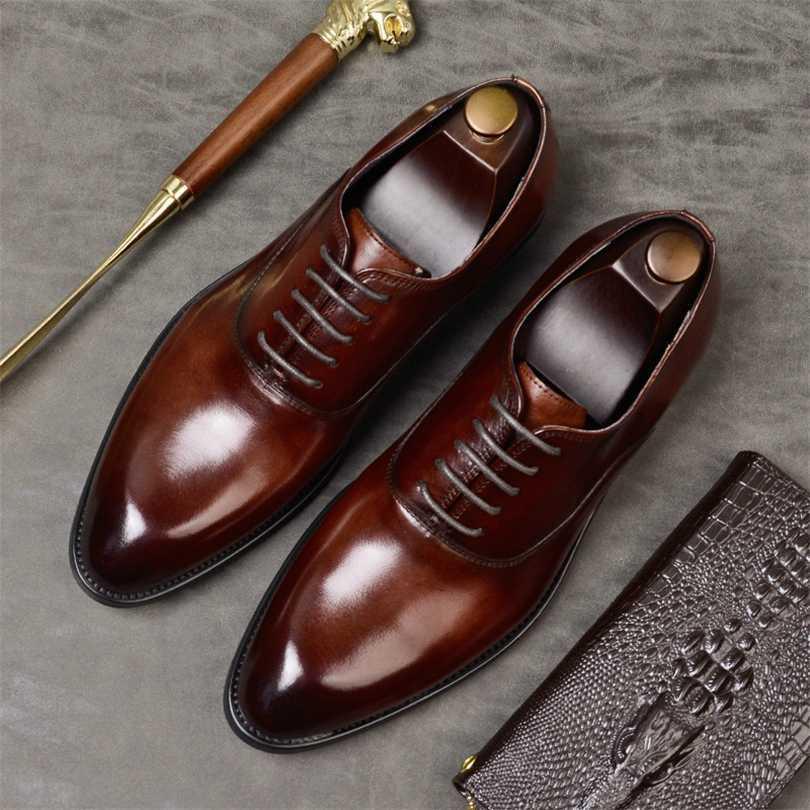 Мужская Формальная обувь из натуральной кожи обуви Оксфорда дышащего бизнеса свадебного платье Zapatos де Hombre итальянский стиль