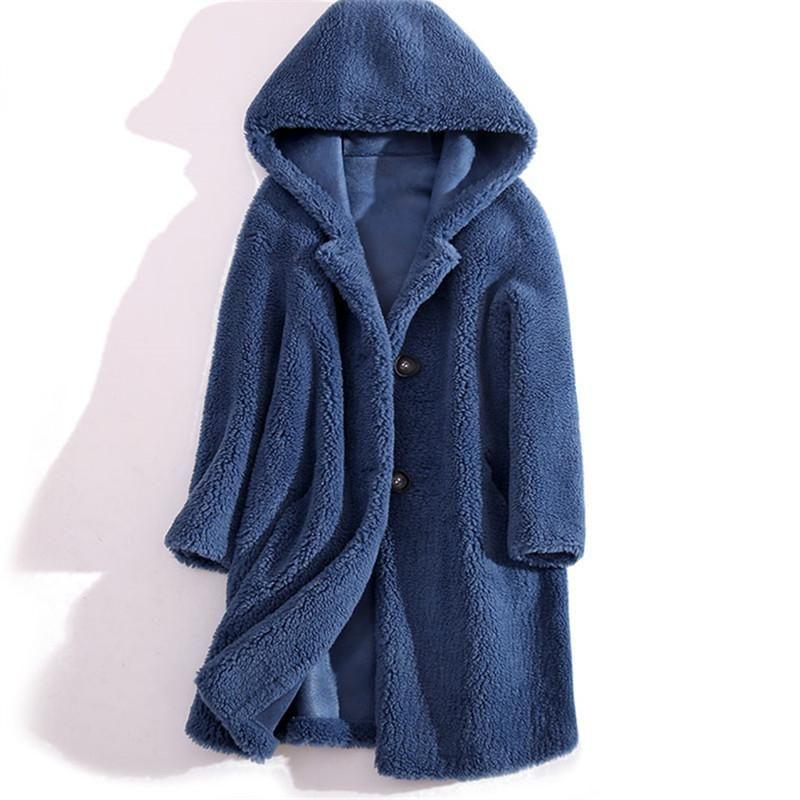 Haute qualité d'hiver épais cisaillement chaud mouton manteau à capuchon de fourrure taille coréenne femmes plus lâche Faux long en laine d'agneau fourrure Veste Femme