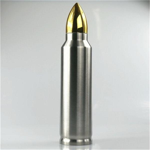 Forma di proiettile Thermos 500ml isolamento in acciaio inox solido in acciaio inox bottiglia d'acqua militare missilimetro tazza di caffè tazza da caffè A05