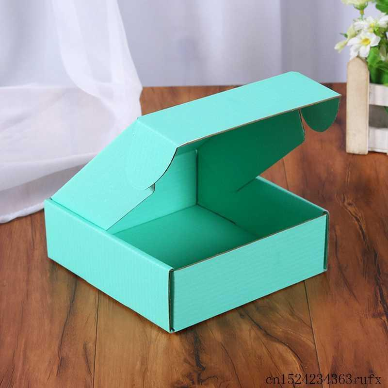 50 Pcs Corrugated Paper Boxes Colored Gift Packaging Folding Box Square Packing Box Jewelry Packing Cardboard Boxes 15*15*5cm1
