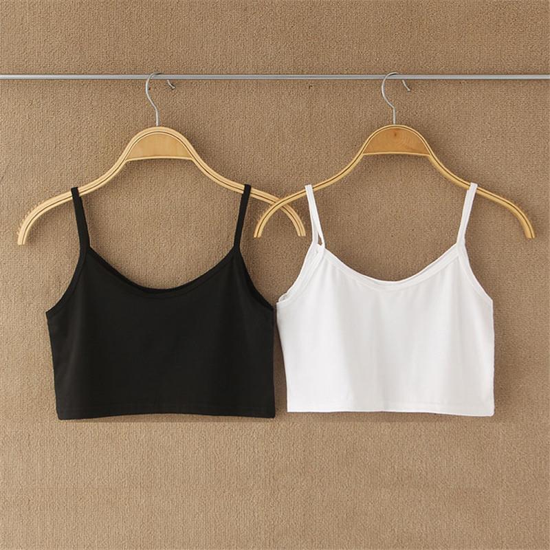 T-shirt Femmes Été Blanc Débardeur Crop Femme Mesdames Sexy Backresse Short Spaghetti Strap Sans manches Top Camis Dershirt 39