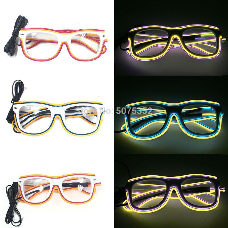 Gzyuchao el óculos luminosos fio de casamento piscando festa decorativa brilhante el óculos de sol óculos rave hvwkg