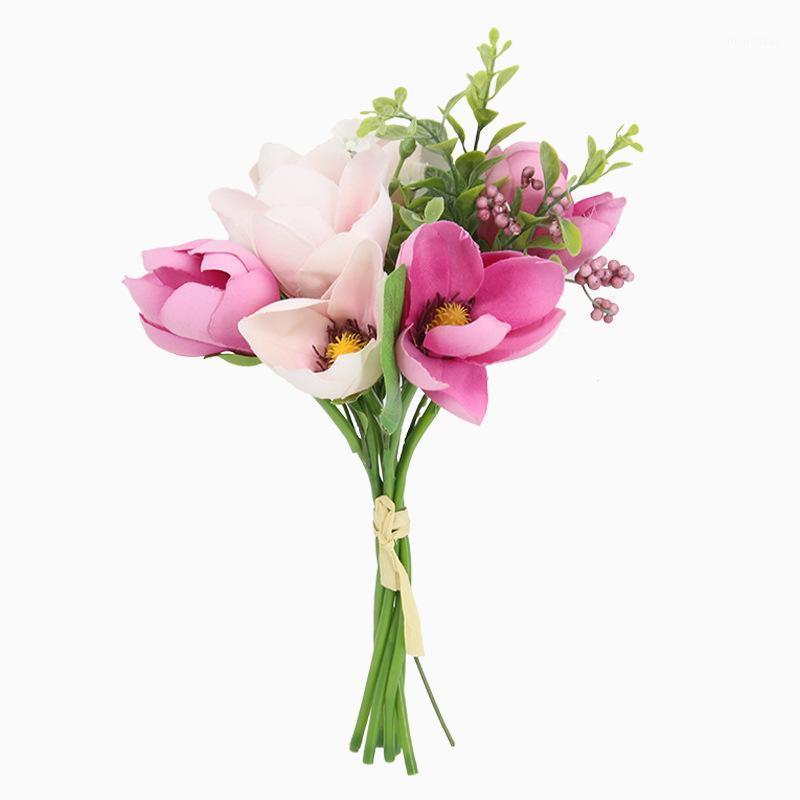 Декоративные цветы венки 1 букет из 6 головок шелковый цветок искусственная магнолия орхидея с листом для домашнего свадебного украшения фестиваля невесты F