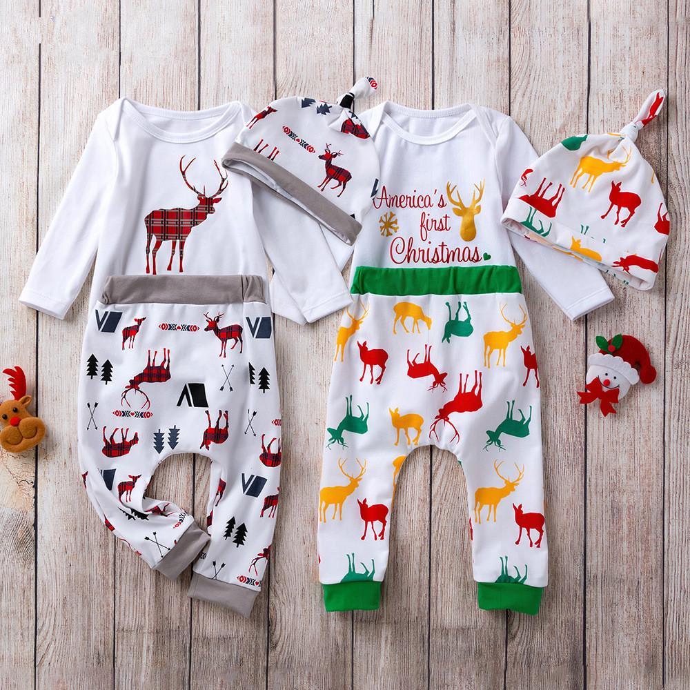 Noël bébé porter des vêtements à manches longues pantalon rompe chapeau 3 pcs fashion fille fille cerf cas de noël bébé tenue vêtements
