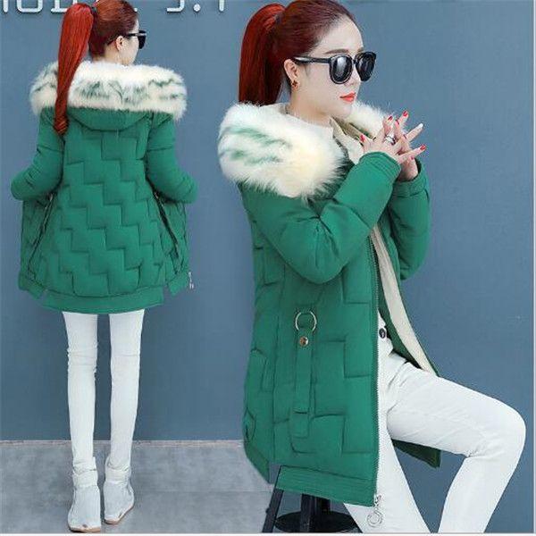 2020 inverno collo di pelliccia di lunghezza media Cappotti Cappotti top giacche giacca con cappuccio giacca di cotone imbottito le donne del nuovo parka