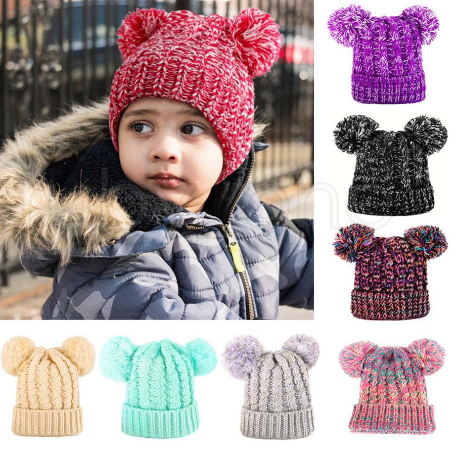 Kids Knit Crochet Beanies Hat Girls Soft Double Balls Winter Warm knitting Hat 13 Colors Outdoor Baby Pompom Ski Caps Party Hats RRA3695