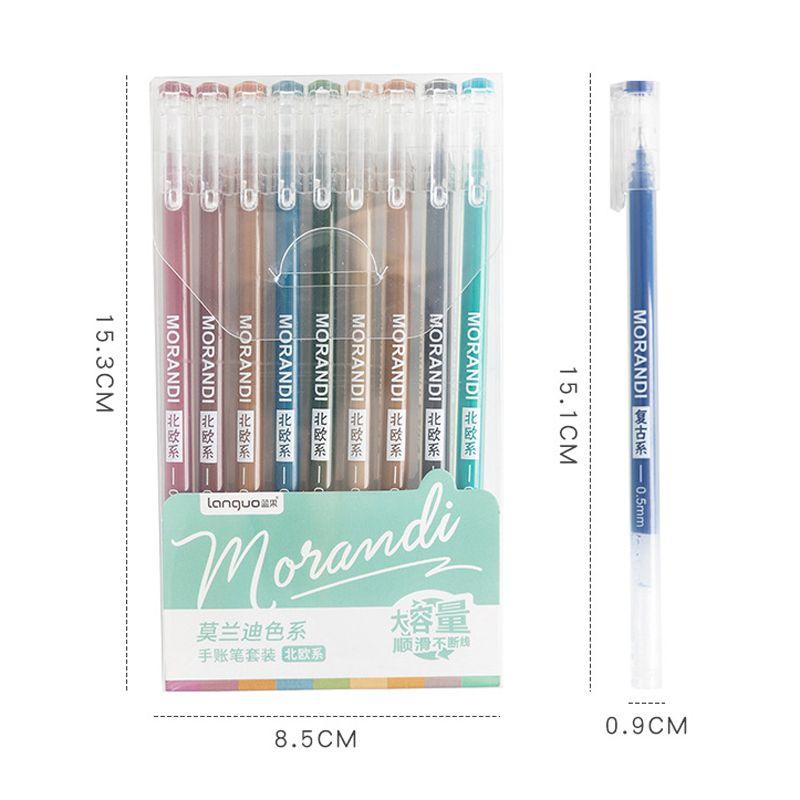 9 teile / satz morandi gel stift multi farbige gelk tinte stifte vintage 0.5mm schreiung zeichnung stift schreibwaren geschenk für kinder bürobedarf