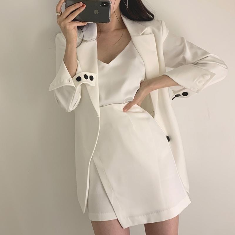 [EWQ] Automne Blazer coréen Blazer Femme Vapel Design Sens creux Cravate Cravate Taille unique Costume à manches longues Veste femme Y201026