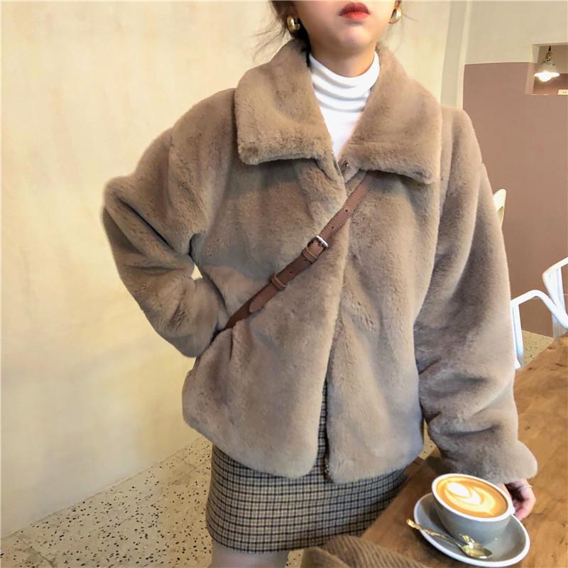 Женщины зимы Толстые искусственного меха Пальто Короткая куртка с длинным рукавом сгущает Теплый Шинель Сыпучие Zipper Outwear 201013