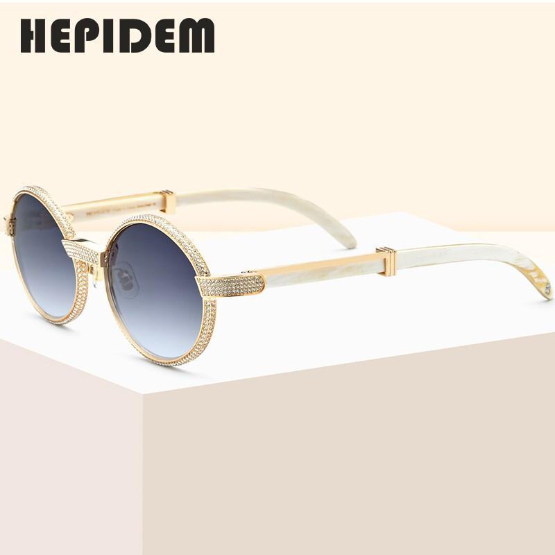 2020 VIP Neue Hohe Qualität Männer Runde Sonnenbrille Marke Designer Luxus Diamant üppige Sonne Für Frauen Büffel Horn Gläser