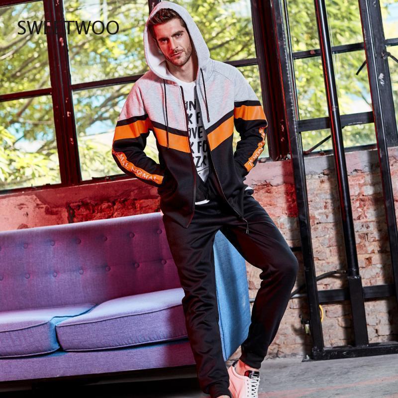 dos homens Plus Size outono Sportswear Leisure Suit Sports duas peças de correspondência de cores Sports Leisure Suit Correndo Clothes
