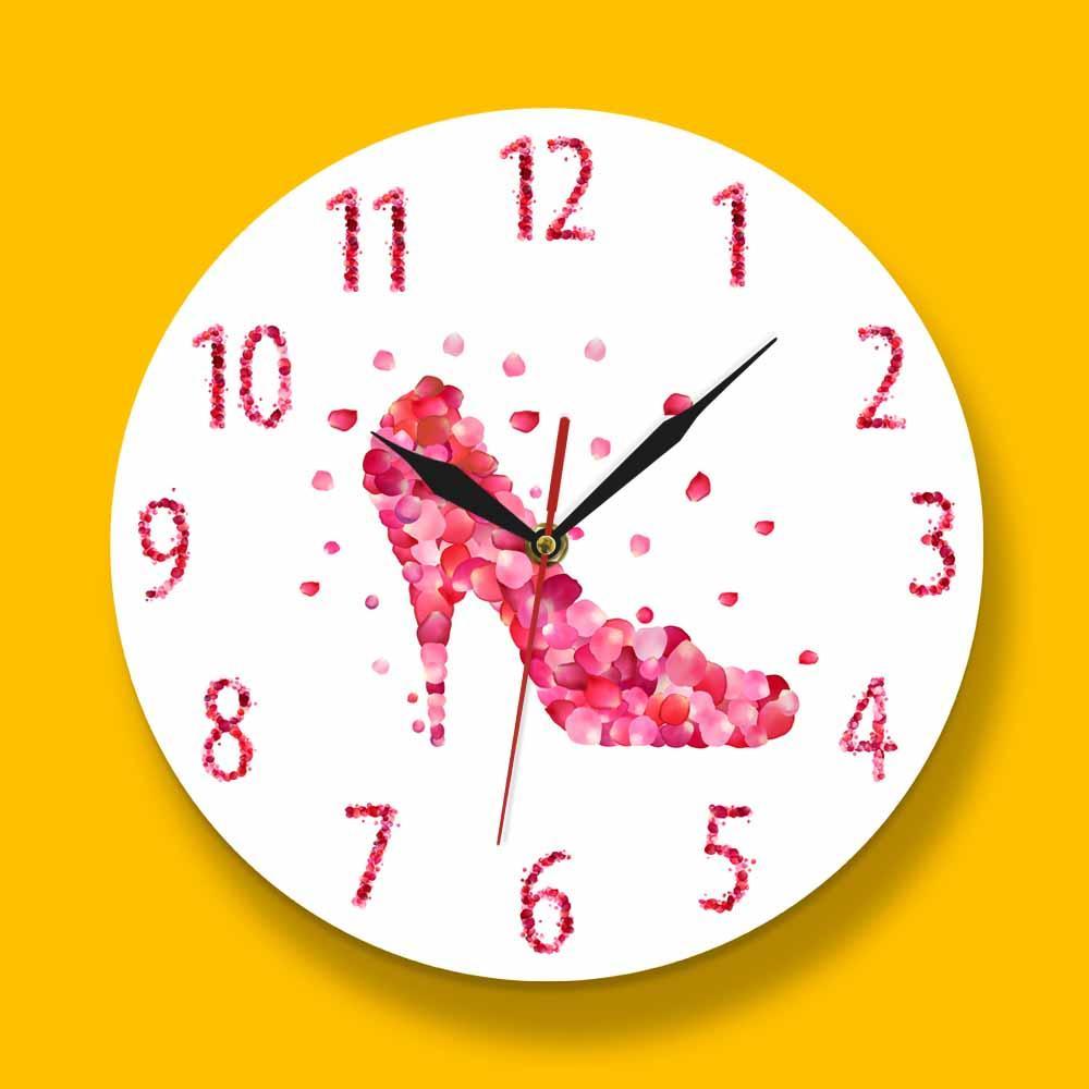 Pink Rose Petal Style High Heels Shoe Silent Wall Clock Pink Fashion Wall Art Woman Bedroom Girly Home Decor Hanging Wall Watch Clock