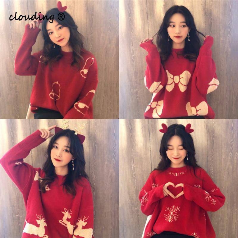 Desenhos animados Impressão capuz Natal de sweaters da Mulher de 2020 em torno do pescoço Maglioni Fluffy coreano Vintage Tamanho Grande camisolas vermelhas