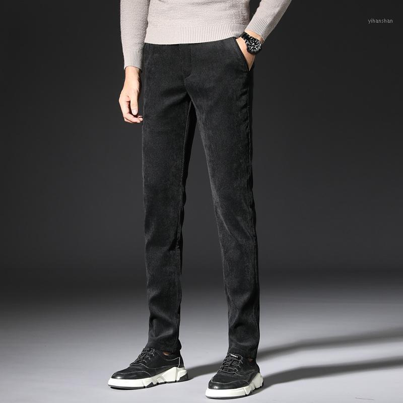 Otoño invierno recién la moda hombres jeans elastic slim fit casual negocio cantary pantalones vintage diseñador terciopelo cálido pantalones largos