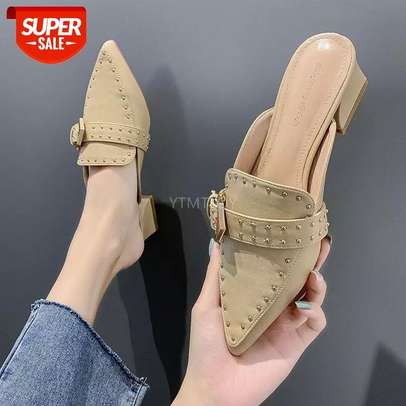 Мулы туфли женщины низкие каблуки тапочки Point Toe 2021 летняя мода роскошь черные слайды Zapatillas Mujer Casa Beach # 5Y3V
