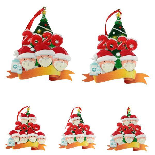 2020 크리스마스 장식 개인화 된 크리스마스 마스크 가족 DIY 크리스마스 트리 휴일 장식 수지 펜던트 펜던트 검역 생존자