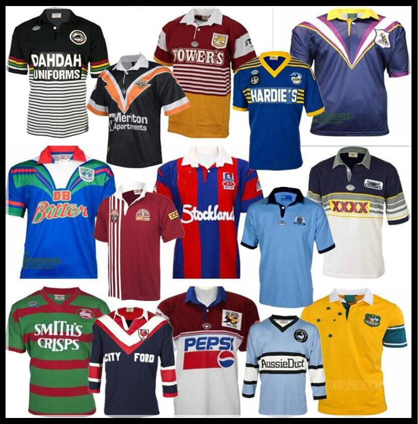 Retro Rugby Jersey Penrith Panthers Avustralya Sydney Roosters St George Illawarra Melbourne Storms Warriors Şövalyeleri Queensland Cowboys