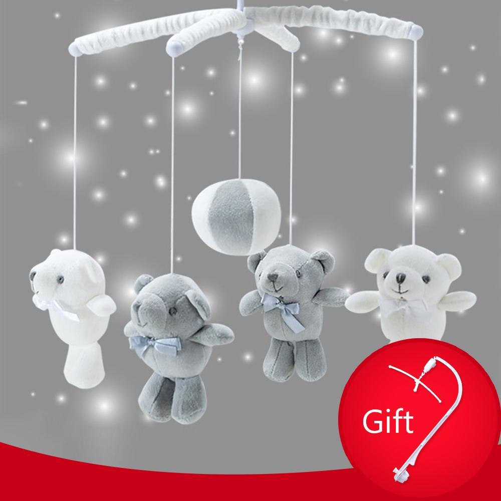 Baby Crib Holder Rattles Baby Toys 0-12 Months Clockwork Music Box Bed Bell Toy Bear Handmade Mobile Toys For Children set 1020