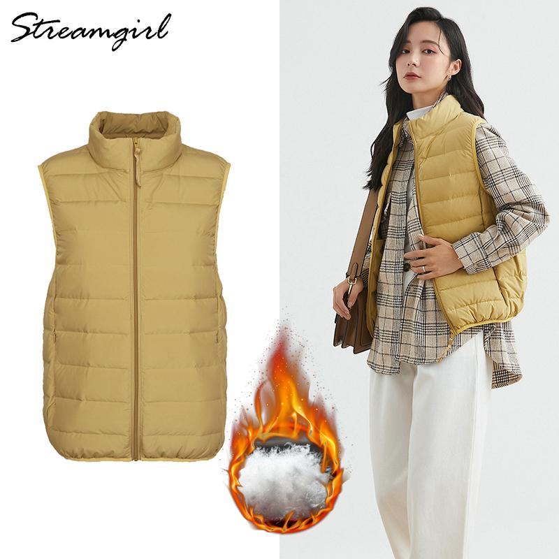 Streamgirl Ultra-Ente Jacken 2020 Frauen dicke warme Weste Light Green Outwear Winter-unten Mäntel