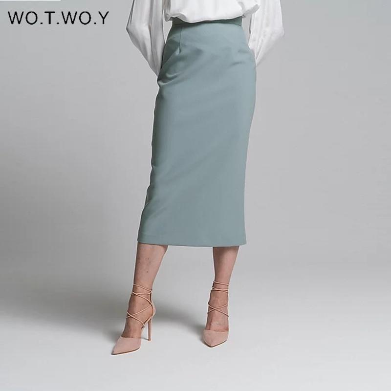 WOTWOY de cintura alta envuelto de Split Faldas elegante de las mujeres Falda tubo sólido femenino adelgazan la cremallera media pantorrilla del Faldas Mujer Office Lady