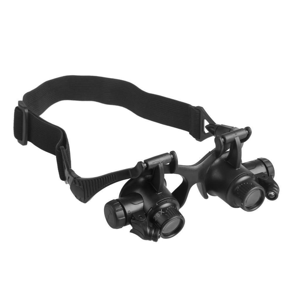 Multi 10x 15x 20x 25x Loupe à LED de haute qualité de haute qualité lunettes double lunettes Loupe Lentille Bijouterie Loupe de réparation SQCInL Homes2007