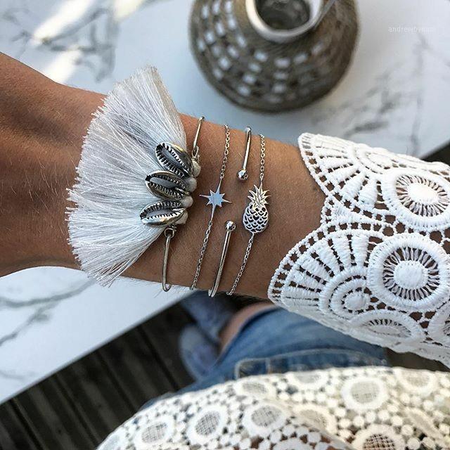 Bohemian Ananas Shell Bracelets de gland pour femmes Couleur Silver 2020 Mode Bijoux Main Set Ensemble Femelle Arrivée1