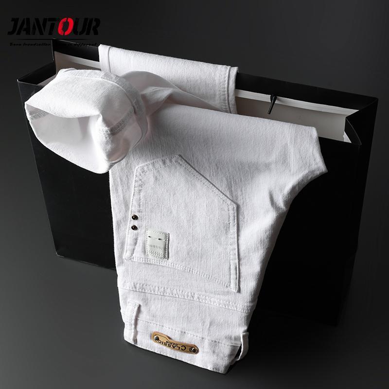 Printemps Eté Hommes Jeans Mince Blanc Mode casual style classique en coton Slim Fit Pantalon souple Homme Marque stretch avancée Pantalon c1019
