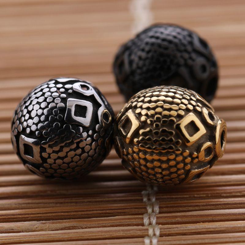 Hombres y Omens DIY Joyas Fabricación de los encantos Dorado Plata Negro 10 mm Redondo Acero inoxidable Perlas sueltas Encantos