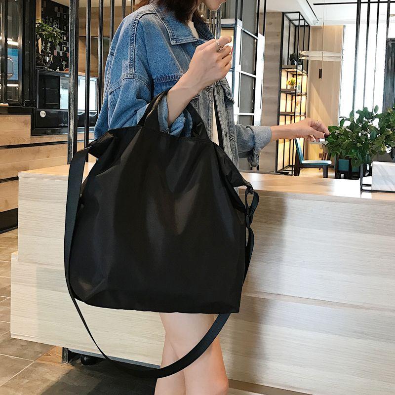 Nylon Handbags Women Men Reusable Shopping Bag Colour black blue Bags Q1109