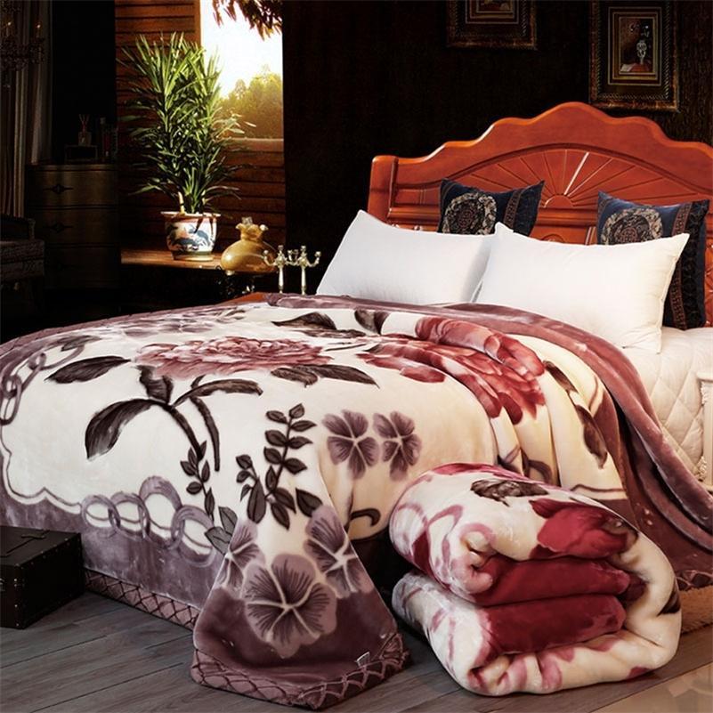 Double couche hiver épaisse raschel vison couverture pondérée pour lit double chaude chaude chaude couverture