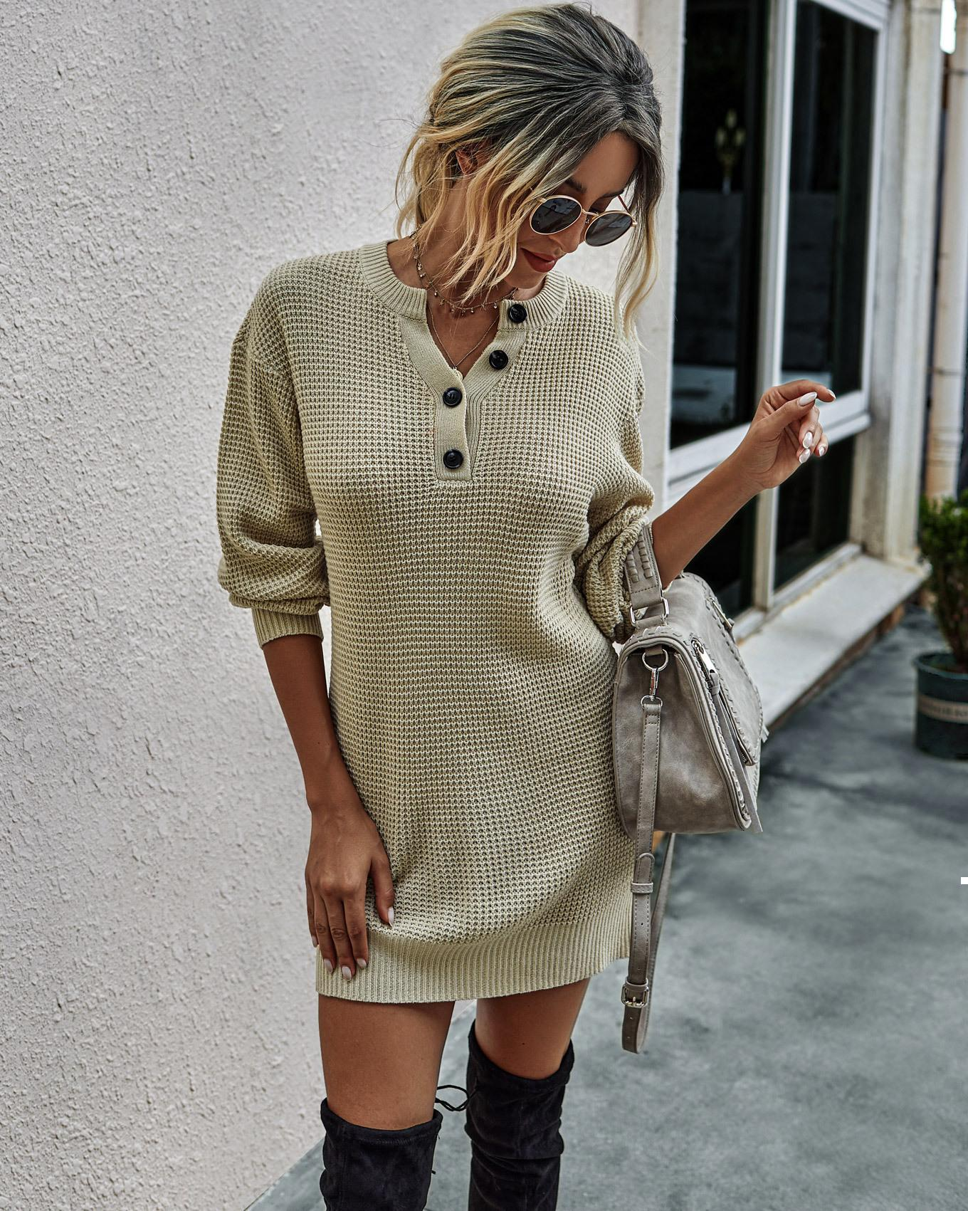 Autun 2021 novo vestido de inverno feminino sexy em malha ou vintage simples desgaste as roupas femininas tbw0 9an6